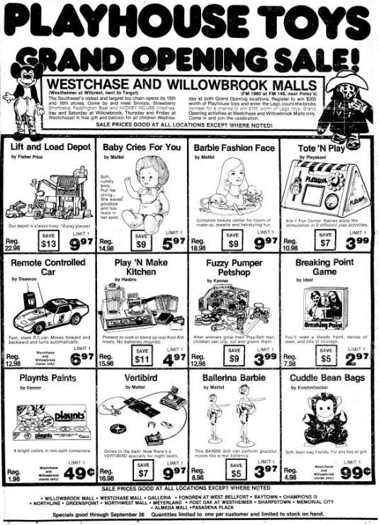 Playhouse Toys, Willowbrook and Westchase