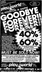 Playworld Fun City Closing Sale, 1982