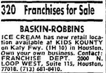 Baskin-Robbins Franchise For Sale, 1974