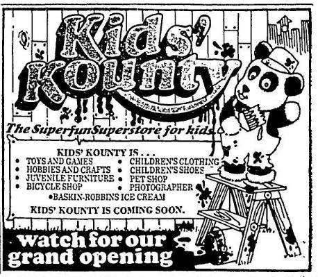 Kids' Kounty Grand Opening, 1973