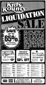 Kids' Kounty Liquidation Sale, 1975